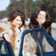 Stock Photo: Young women with car