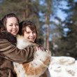 Two happy girls in winter — Stock Photo