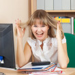 Crazy businesswoman  in office — Zdjęcie stockowe
