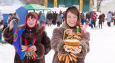 Girls celebrating Shrovetide at Russia — Stock Photo