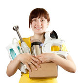 Woman with household appliances over white — Stock Photo