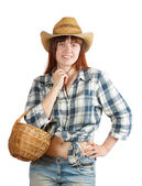 Woman with basket over white — Stock Photo