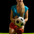 Sexy girl with soccer ball — Stock Photo