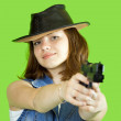Royalty-Free Stock Photo: Girl  aiming a black gun