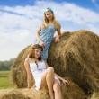 Royalty-Free Stock Photo: Country girls on hay