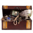 Treasure trunk with jewellery — Stock Photo