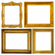 Stock Photo: Set of few gold frame