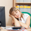Woman is sleeping  in office - Stock Photo
