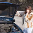 Woman looking under  car hood — Stock Photo