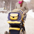 Stock Photo: Womwith pram in winte