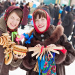 Girls plays during Shrovetide at Russia — Stock Photo