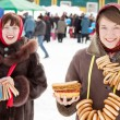 Girls celebrating Shrovetide at Russia — Stock Photo #5435233
