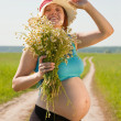 Pregnant womon summer road — Foto Stock #5435280