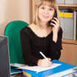 Stock Photo: Businesswomspeaking by telephone