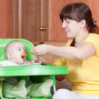 Mother feeding her 6 month baby — Stock Photo #5435307