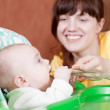 Mother feeding baby with spoon — Stock Photo #5435318