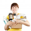 Woman with household appliances — Stock Photo