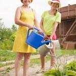 Women watering flowers — Stock Photo #5435336