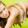 Female cave-dweller - Stock Photo