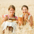 Women with farm-style meal — Stock Photo