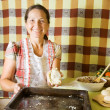 Woman making meat pasty — Stock Photo #5436343