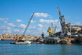 Cranes in dry dock — Stock Photo