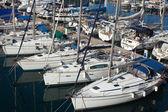 Many yachts lying at Dockyard Creek — Stock Photo