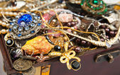 Background of closeup of Treasure chest — Stock Photo