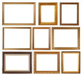 Set of 9 gold frames — Stock Photo