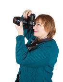 Senior woman taking photo — Stock Photo