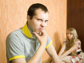 Young couple after quarrel — Stock Photo