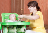 Mother feeding her 6 month baby — Stock Photo