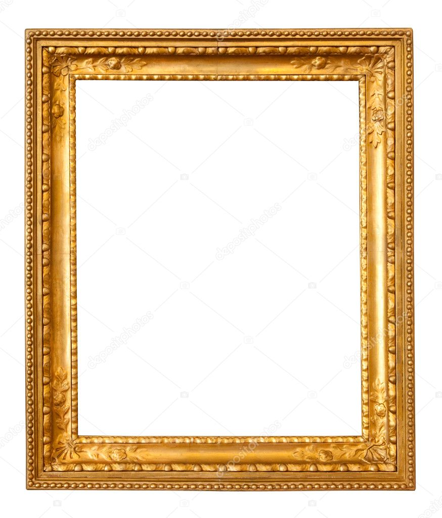 Old gold frame. Isolated over white background with clipping path — Foto Stock #5432902