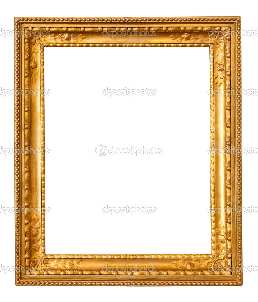 Old gold frame. Isolated over white background with clipping path — Stock Photo #5432902