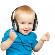 Little boy with headphones — Stock Photo