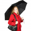 Stock Photo: Girl in cloak with umbrella
