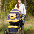 Woman walking with pram — Stock Photo