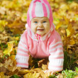 Kid sits in an autumn park — Stock Photo
