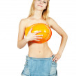 Topless girl covered with hardhat — Stock Photo