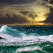 Wave during storm in sunset time — Stock Photo