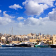 Yachts against Manoel island — Stock Photo