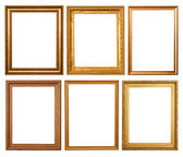 Set of 6 gold frames — 图库照片