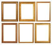 Set of 6 gold frames — Stock Photo