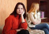 Girls having quarrel at home — Stock Photo