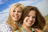 Two happy girls together — Stock Photo