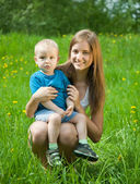 Teen sister and baby brother — Stock Photo