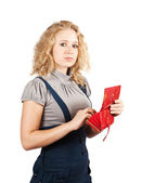 Woman with red wallet — Stock Photo