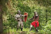 Knights in armor is fights — Stock Photo