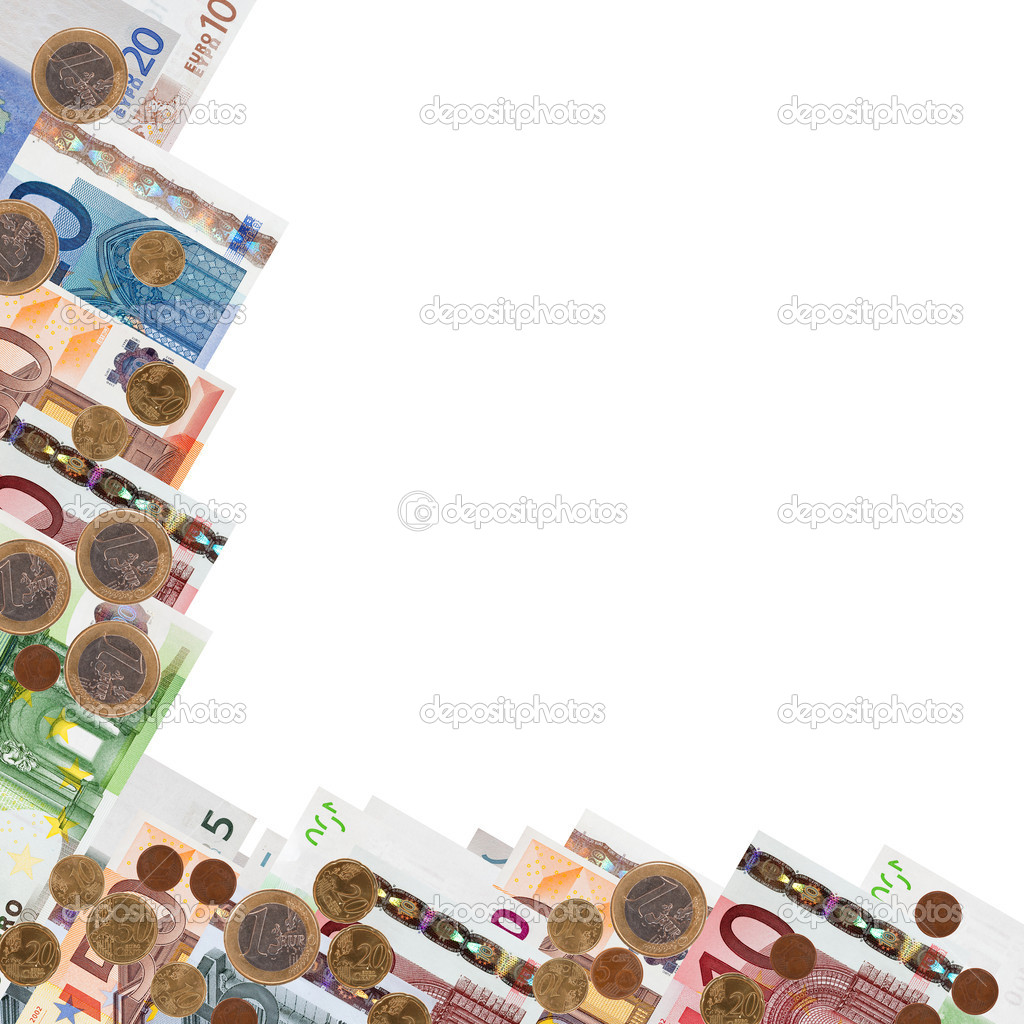 Border from many euro banknotes and coins over white background  — Stock Photo #5711762