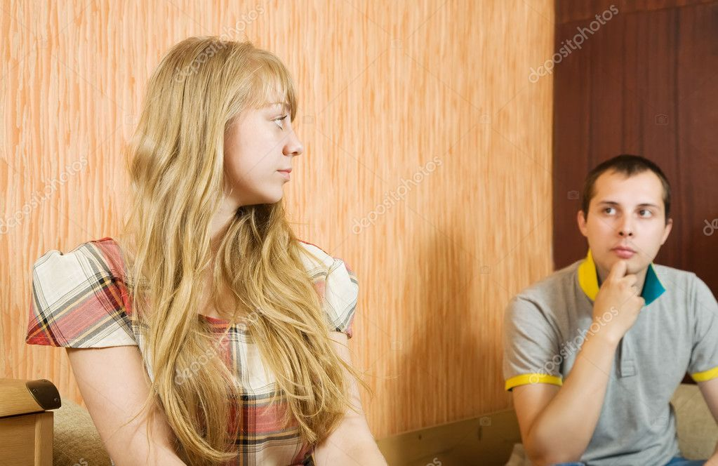 Young couple having quarrell in the bedroom — Stock Photo #5717476